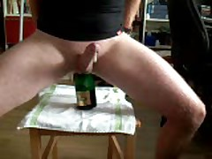 Champagne Bottle In My Ass - Much Precum!