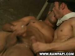 Latino Gay Kiss While Wanking