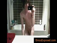Cute Gay Emo Filming Himself In Mirror While Jerking By EmosExposed
