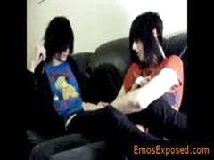 Two Gay Emo Twinks Making Out On The Bed