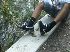 My Ex Bf In Black Puma Socks And Black AIRMAX