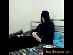 Teenaged Homo Punk Masturbating His Boner On Bed By Emosexposed